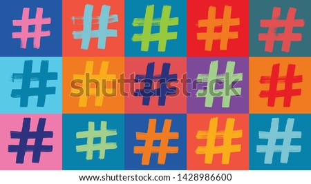Hashtag Symbol Pattern, Hashtags, Hash tag, Colorful Background, Illustration, Grunge Texture, Internet concepts, instagram, twitter, social media, concepts, creativity, digital marketing, online hits