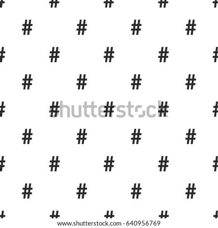 Hashtag symbol seamless pattern, isolated on white background. Vector illustration, easy to edit.