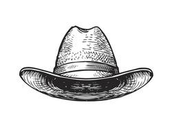 Hat farmer, gardener or cowboy. Sketch vector