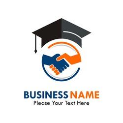 Hat graduation with handshake logo template illustration