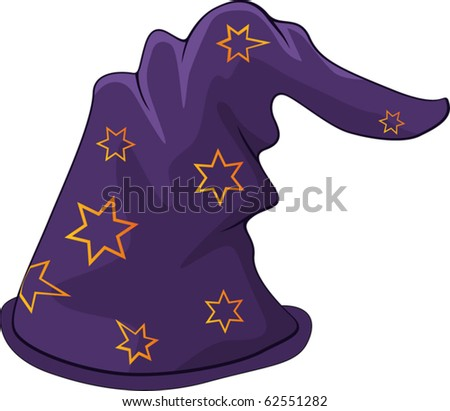 Hat of the wizard - stock vector