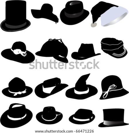 hat set vector - stock vector