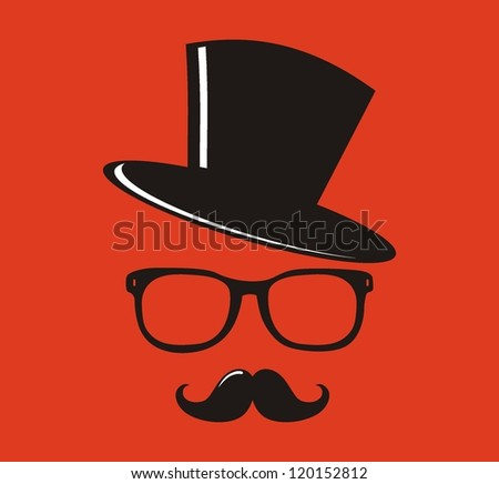 Hat, sunglasses and mustache  - vector