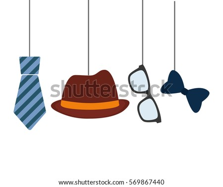 hat tie glasses and bow hanging