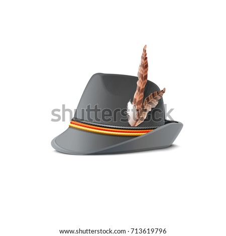 hat with feather decorated by