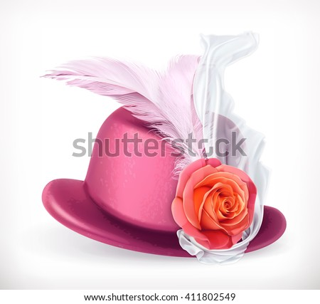 Hat with rose and feathers, vector icon