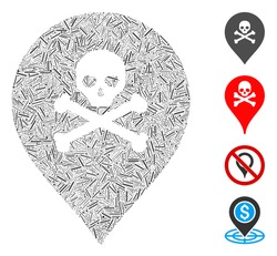 Hatch collage death map marker icon constructed from narrow elements in variable sizes and color hues. Irregular hatch elements are composed into abstract vector illustration death map marker icon.