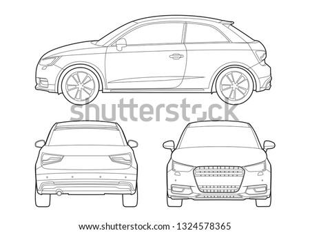 hatchback outline drawing audi