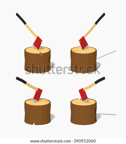 hatchet in the stump 3d