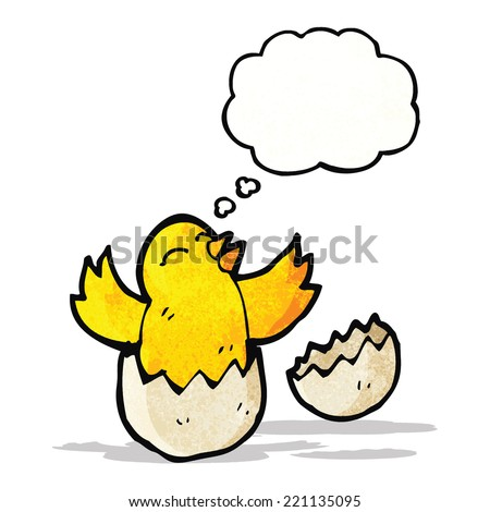hatching chick with thought
