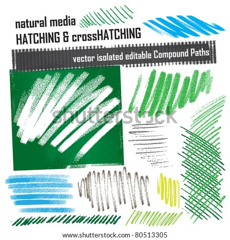 hatching elements set - natural media grunge structures
