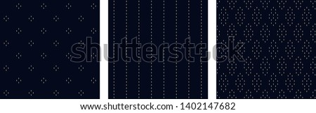 Hatching pattern set of seamless modern ornaments. Minimal monochrome arrangement. Simple geometric design print block for apparel textile, ladies dress fabric, mens shirt, fashion garment, swimwear.