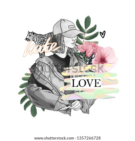 hate love slogan with girl and