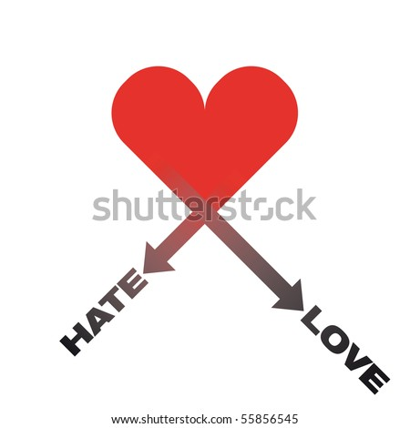 hate love vector heart
