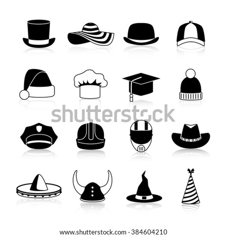 hats and caps black icons set