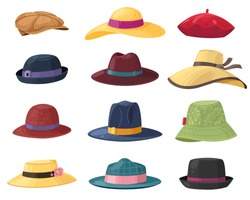 Hats and headgears. Stylish summer male and female headwear, vintage classic and modern hats, clothes accessory colorful cartoon vector set of accessories