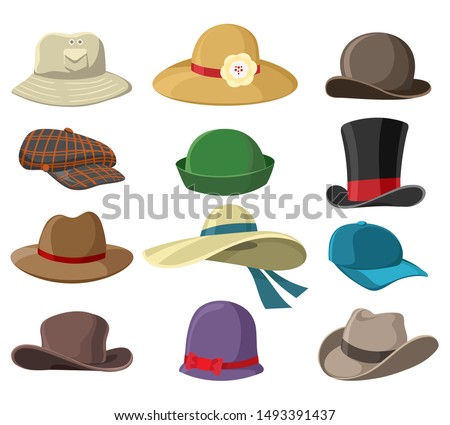 Hats and headwears. Hat images isolated on white background, headgear vector illustrations for man and woman, cap headgears for ladies and gentlemen