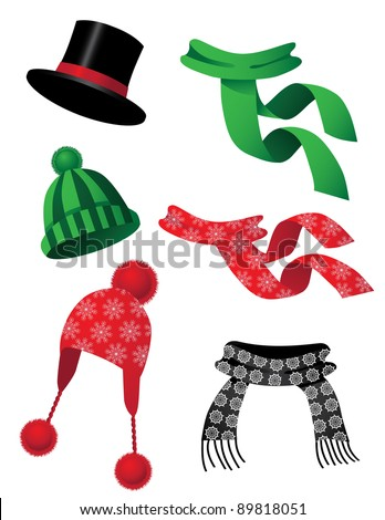 Hats and scarves A collection of fun hats and scarves. EPS 8 vector, grouped for easy editing.