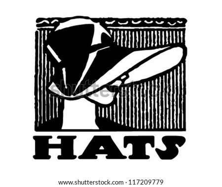 Hats Banner - Retro Clipart Illustration