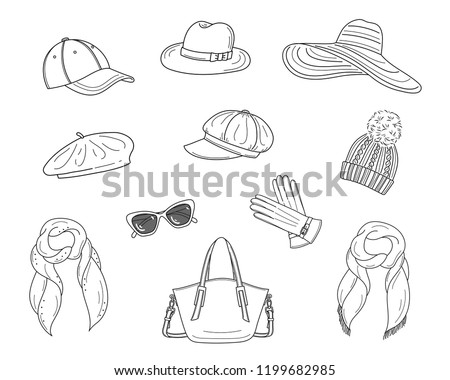19b3200f Hats collection, vector sketch illustration. Different types of hats, cap,  panama,