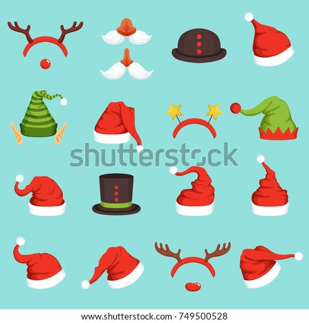 Hats of different christmas characters. Cap of santa, elf and snowman. Vector illustrations in cartoon style. Santa claus hat and christmas cap elf and deer