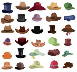 Hats set. Types of hats vector