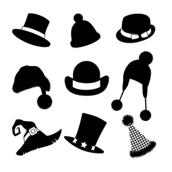 Hats silhouettes collection. A set of fun hats. EPS 10 vector, grouped for easy editing. No open shapes or paths.
