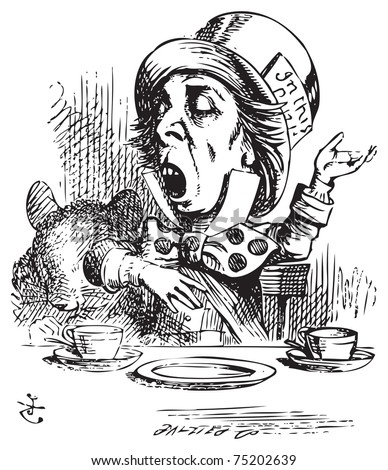 Hatter engaging in rhetoric. Mad Hatter is telling a story to Alice and his friends. Alice in Wonderland original vintage engraving. Alice's Adventures in Wonderland. Illustration from John Tenniel