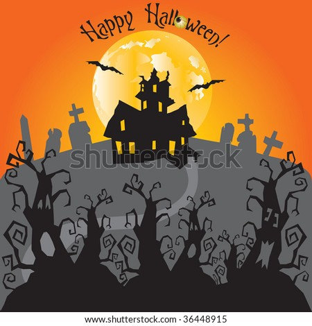 Haunted forest with trail that leads to a Haunted House and graveyard on a full moon night.  Room for your text