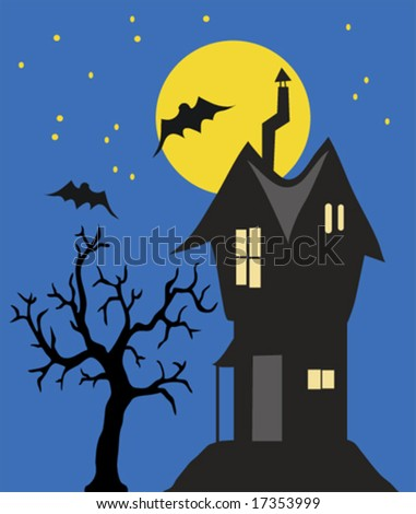 haunted house at night - vector - stock vector