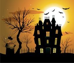 Haunted house halloween background