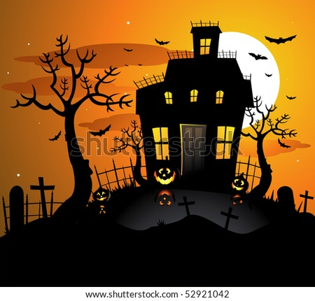 haunted house images cartoon. stock vector : Haunted house halloween background