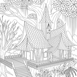 Haunted house in the jungle, Happy Halloween Theme for printing ,coloring book, laser cut and so on. Vector illustration