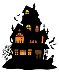 Haunted house silhouette theme image 1 - eps10 vector illustration.