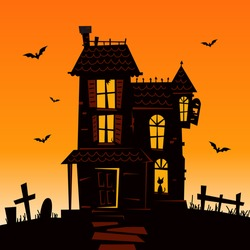 Haunted Mansion - Spooky Haunted House Vector Illustration