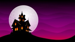 Haunted old house with the moon in background