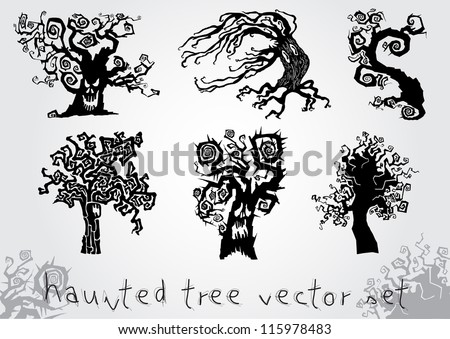 haunted tree vector set