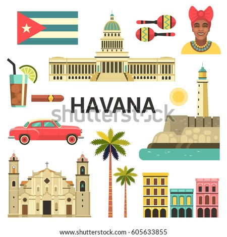 Shutterstock Havana poster. Vector icons collection of Cuban culture and attractions, including retro car, portrait of Cuban Woman, Cathedral and National Capitol Building in trendy flat style.