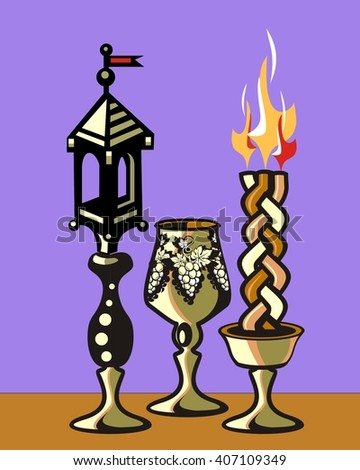 Havdalah set.Silver kiddush wine cup,gold color spice box,braided lit candle.Jewish religious ritual after end of Sabbath.Spice container,traditional tower shape,bell and flag. Stok fotoğraf ©