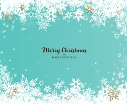 Have a Merry Christmas vector illustration with many snowflakes on turquoise background.