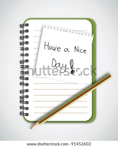 Have a nice day word on notebook vector