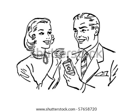 Have A Smoke - Man Offering Cigarette To Woman - stock vector