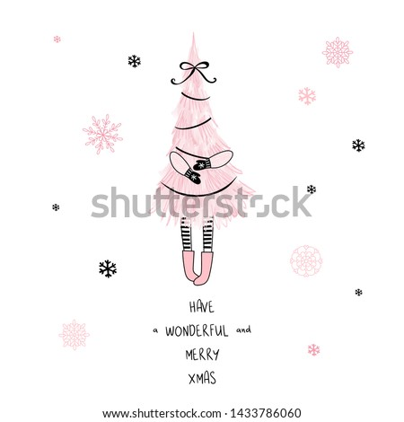 Have a wonderful and merry xmas hand drawn vector drawing with lettering. Kawaii christmas tree sketch. New Year pastel drawing on white background. Christmas postcard, greeting card design element