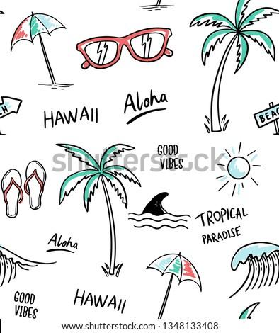 Hawaii, Aloha theme seamless pattern vector illustrations. Palm trees, shark, sunglasses, sun, umbrella, flip flops.
