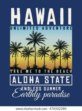 hawaii aloha typography with