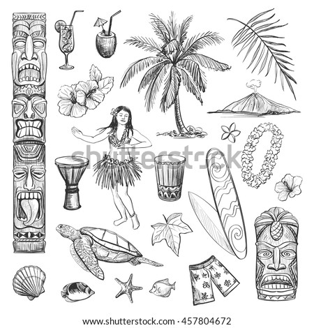 hawaii collection of vector