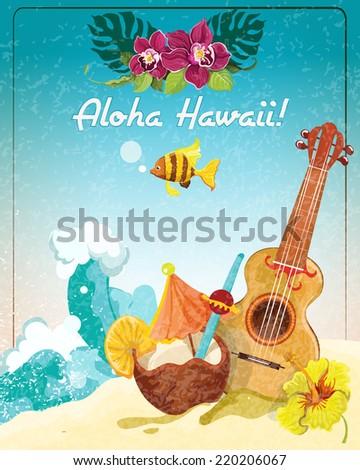 hawaii guitar tropical beach