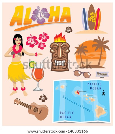 hawaii icon set