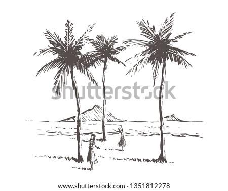 hawaii island sketch with gils
