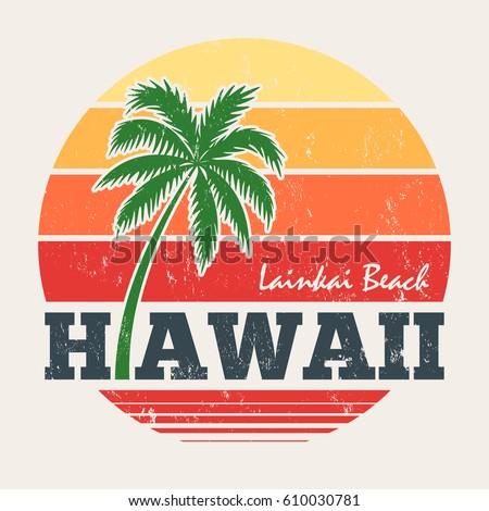 hawaii lanikai beach tee print